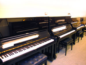 Yamaha U3 piano and Yamaha U1 piano miodels among the upright pianos for sale at Rochford pianos, Suffolk
