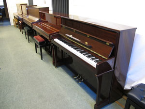 Steimayer and other small upright piano models among the upright pianos for sale at Rochford pianos, Suffolk